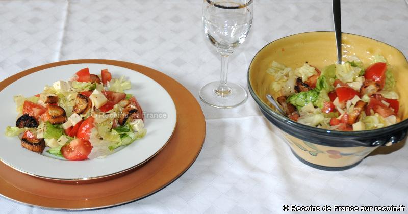 Salade fromage croûtons