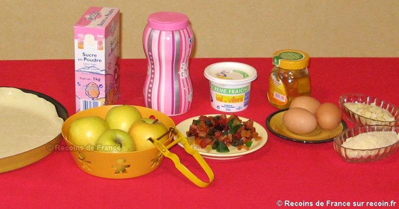 Tarte aux pommes et fruits confits