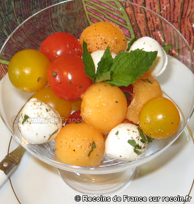 Salade tomates cerises melon